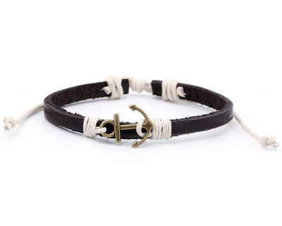 Leather Bracelet Brass anchor brown