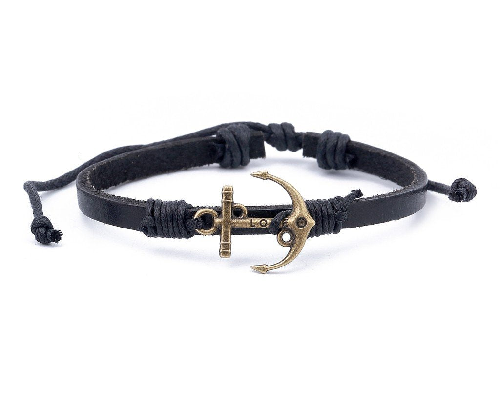Leather Bracelet Brass love anchor Black