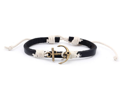 Leather Bracelet Brass love anchor black - boom-ibiza
