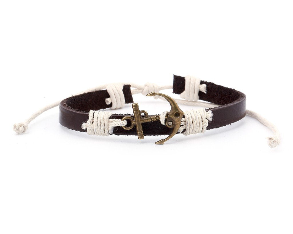 Leather Bracelet Brass love anchor brown