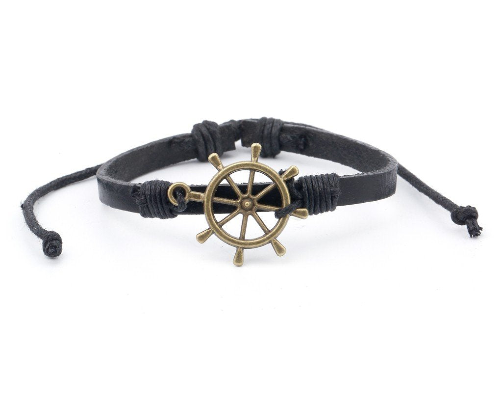 Leather Bracelet Brass Ship Wheel Black