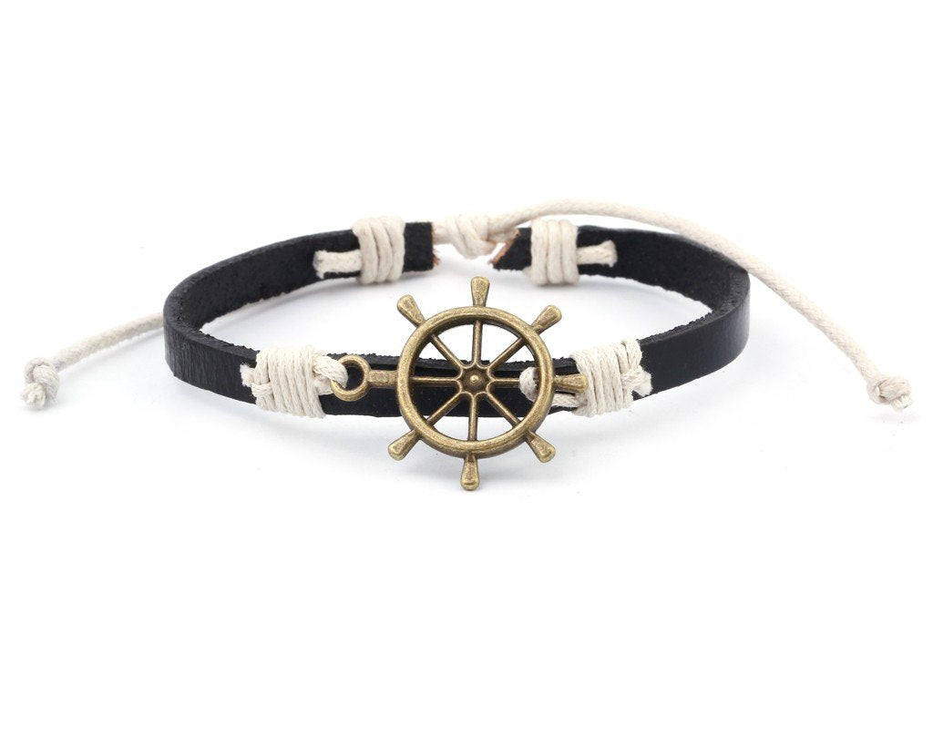 Leather Bracelet Brass Ship Wheel brown