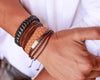 leather bracelet braided - light brown - boom-ibiza