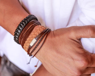 leather bracelet braided round - dark brown
