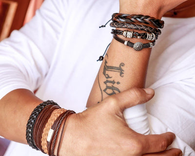 leather bracelet braided round - dark brown - boom-ibiza