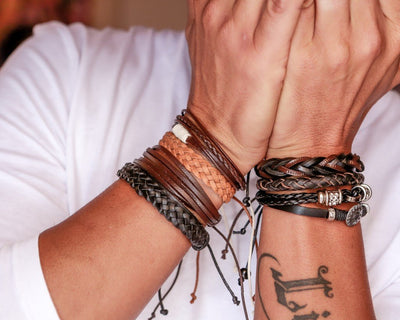 leather bracelet braided round - light brown
