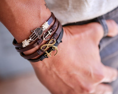 Leather Bracelet Brass Ship Wheel Black - boom-ibiza
