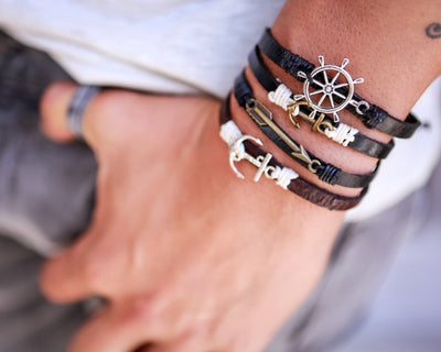 Leather Bracelet Brass anchor black