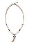 beads necklace white metal tooth pendant - boom-ibiza
