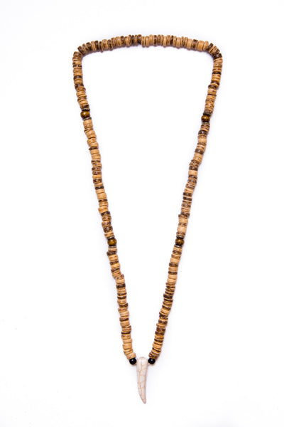 beads necklace wooden disc tooth pendant - boom-ibiza