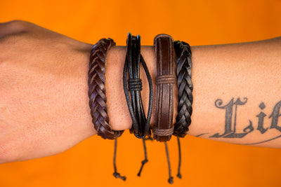 leather bracelet braided - Ibiza classic brown - boom-ibiza