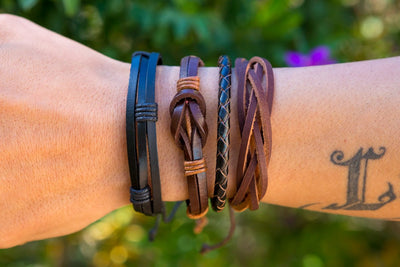 leather bracelet braided - neat black - boom-ibiza