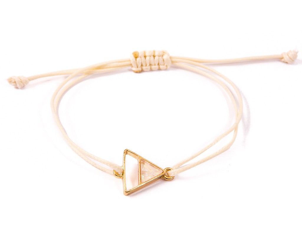 String Bracelet Quartz triangle - White