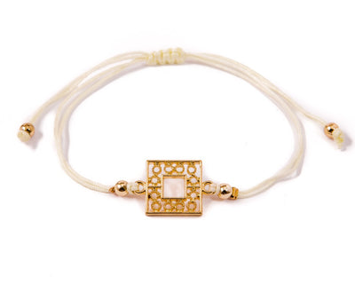 String Bracelet Golden Rectangle - White