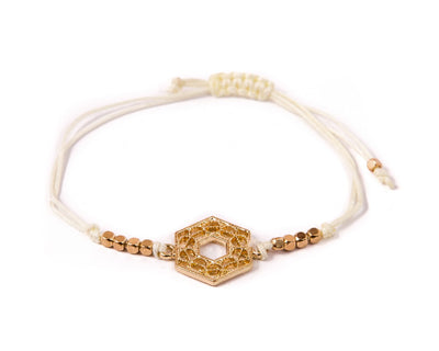 String Bracelet Golden Hexagonal - White