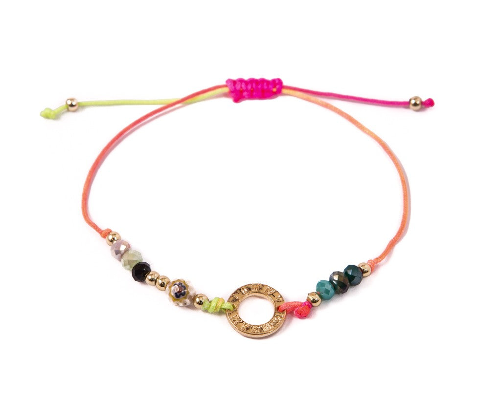 String Bracelet Golden Ring - Rainbow