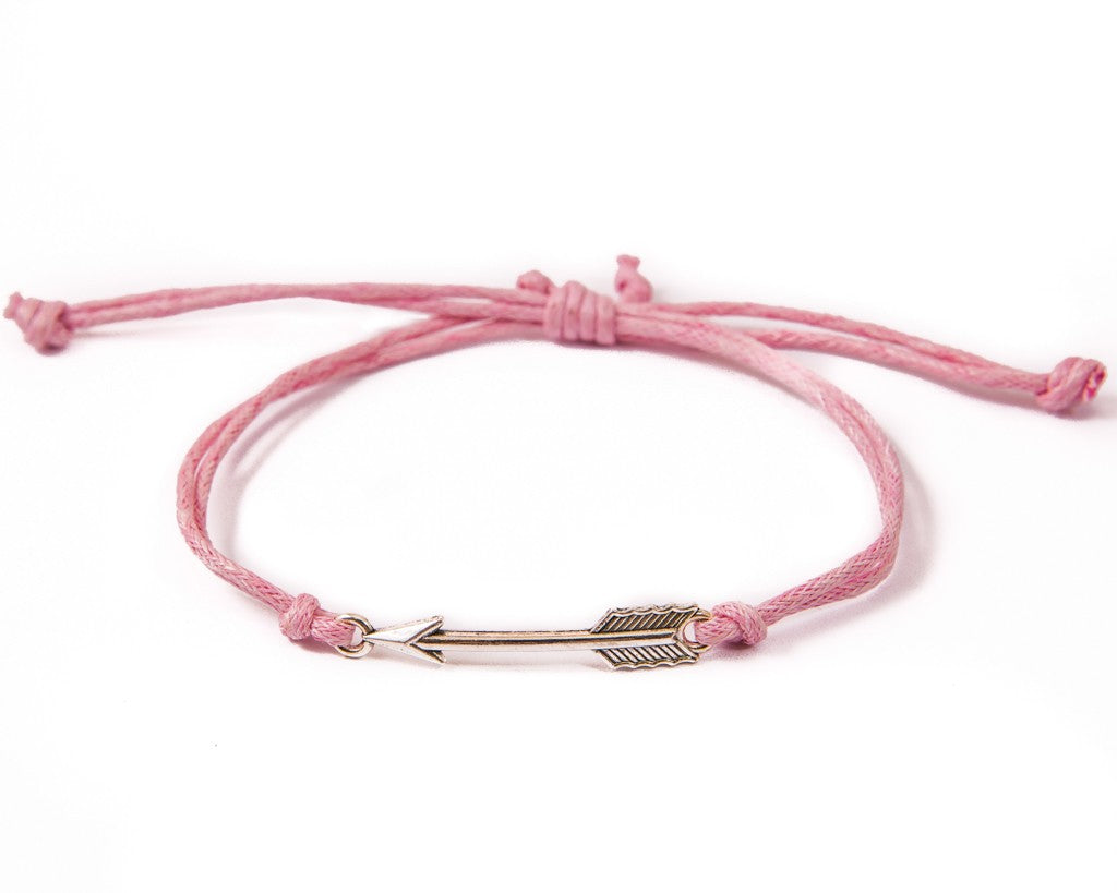 String Bracelet Golden Arrow - Pink - boom-ibiza