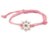 String Bracelet Golden Ship Wheel - Pink - boom-ibiza