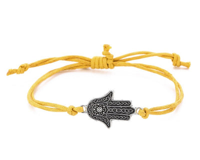 String Bracelet Metal  Hamsa - Yellow