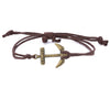 String Bracelet Brass Anchor - Brown