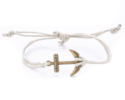 String Bracelet Brass Anchor - White - boom-ibiza