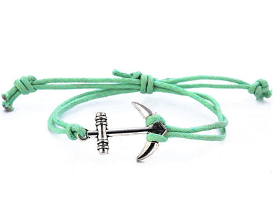 String Bracelet Metal Anchor - Green - boom-ibiza