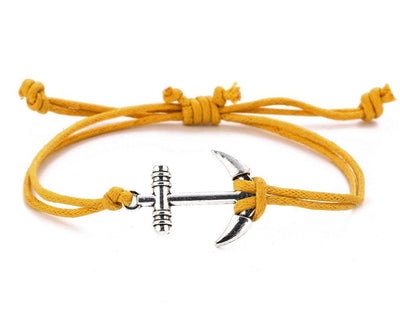String Bracelet Metal Anchor - Yellow