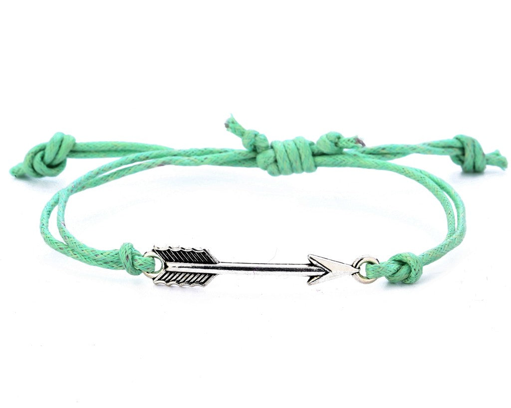 String Bracelet Metal Arrow - Green
