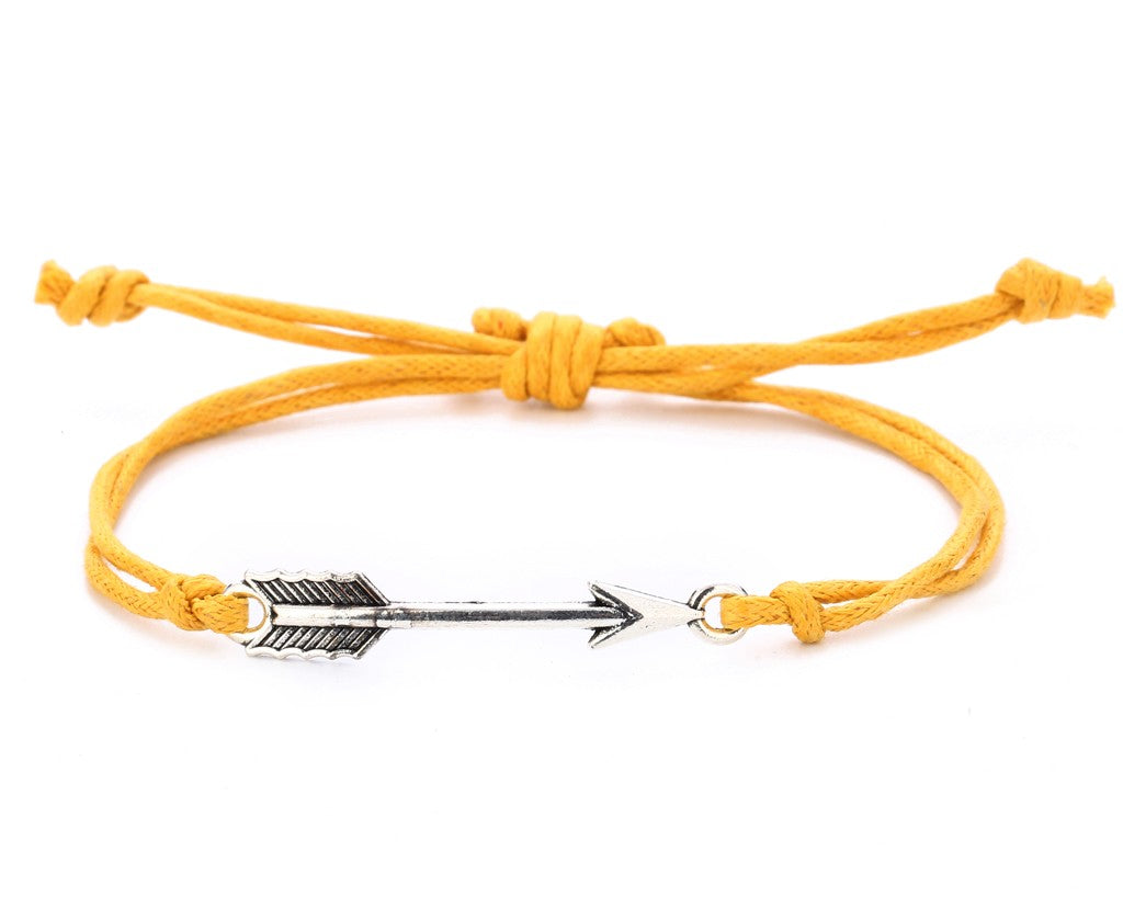String Bracelet Metal Arrow - Yellow