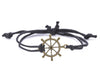 String Bracelet Brass Ship Wheel - Black - boom-ibiza