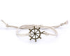 String Bracelet Brass Ship Wheel - White - boom-ibiza