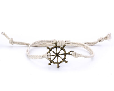 String Bracelet Brass Ship Wheel - White