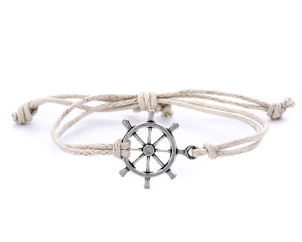 String Bracelet Metal Ship Wheel - White - boom-ibiza