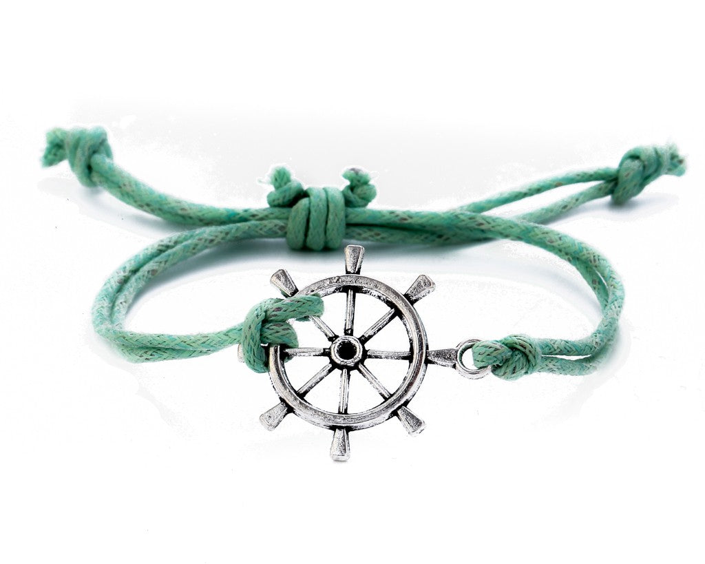 String Bracelet Metal Ship Wheel - Turquoise - boom-ibiza