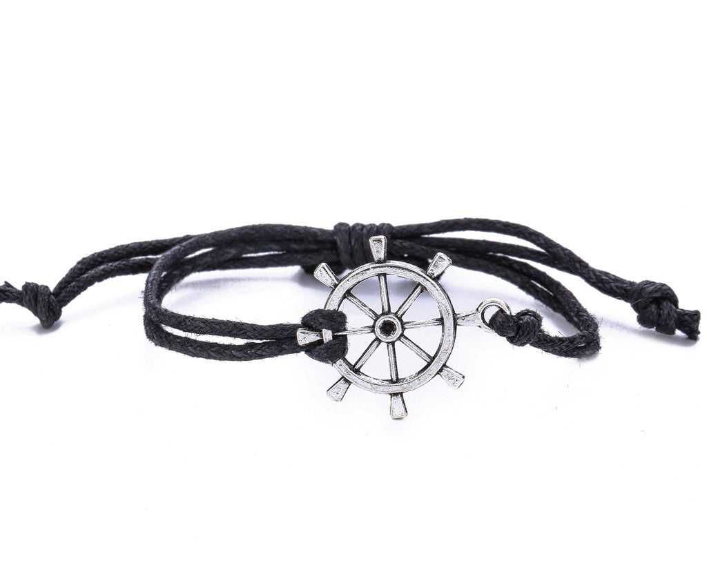 String Bracelet Metal Ship Wheel - Black - boom-ibiza