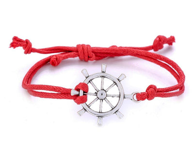 String Bracelet Metal Ship Wheel - Red - boom-ibiza