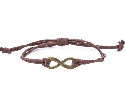 String Bracelet Brass Infinity - Brown