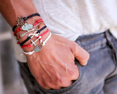 String Bracelet Metal Anchor - Black