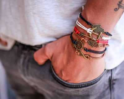 String Bracelet Metal  Hamsa - Red