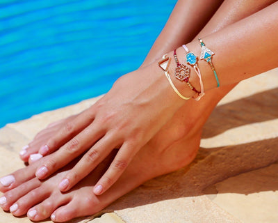 String Bracelet Golden Rectangle - Turquoise - boom-ibiza