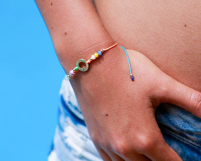String Bracelet Golden Ring - Rainbow - boom-ibiza