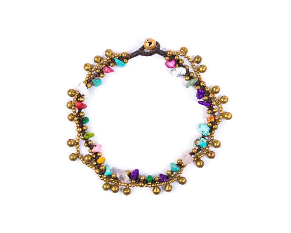 Anklet  -  Brass Bells & Colorful Anklet