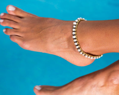 Anklet - Brass & Pearl Anklet - boom-ibiza