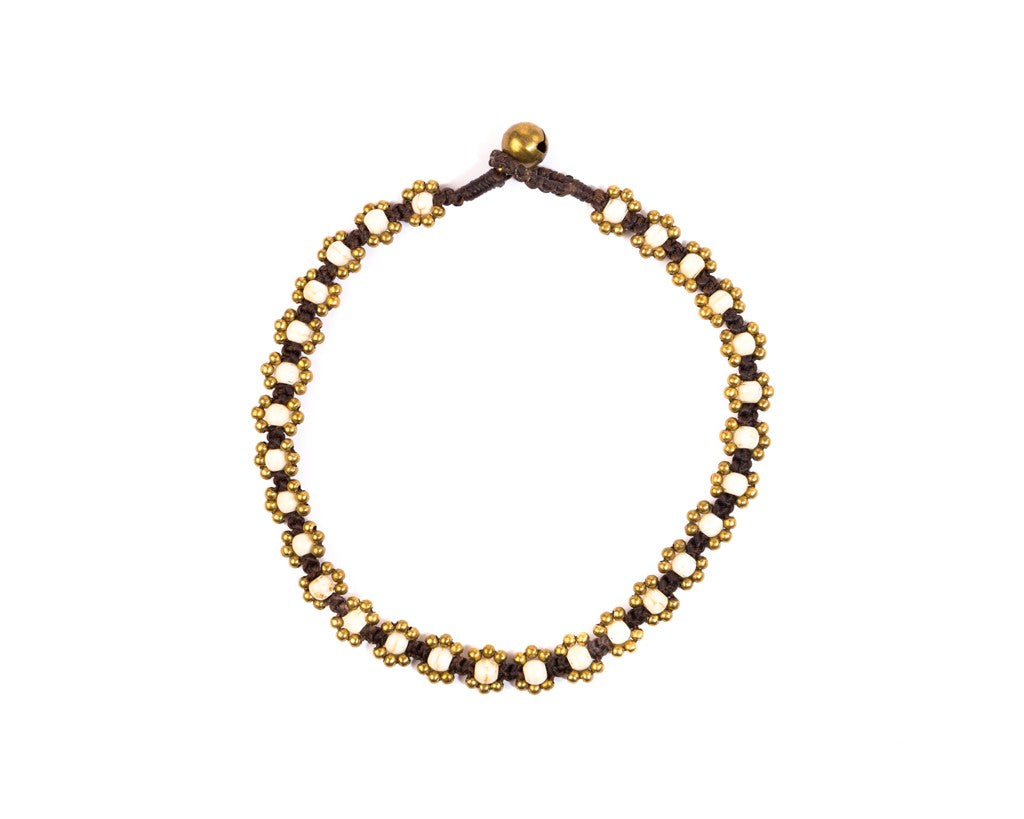 Anklet  -  Braided Brass & White Anklet