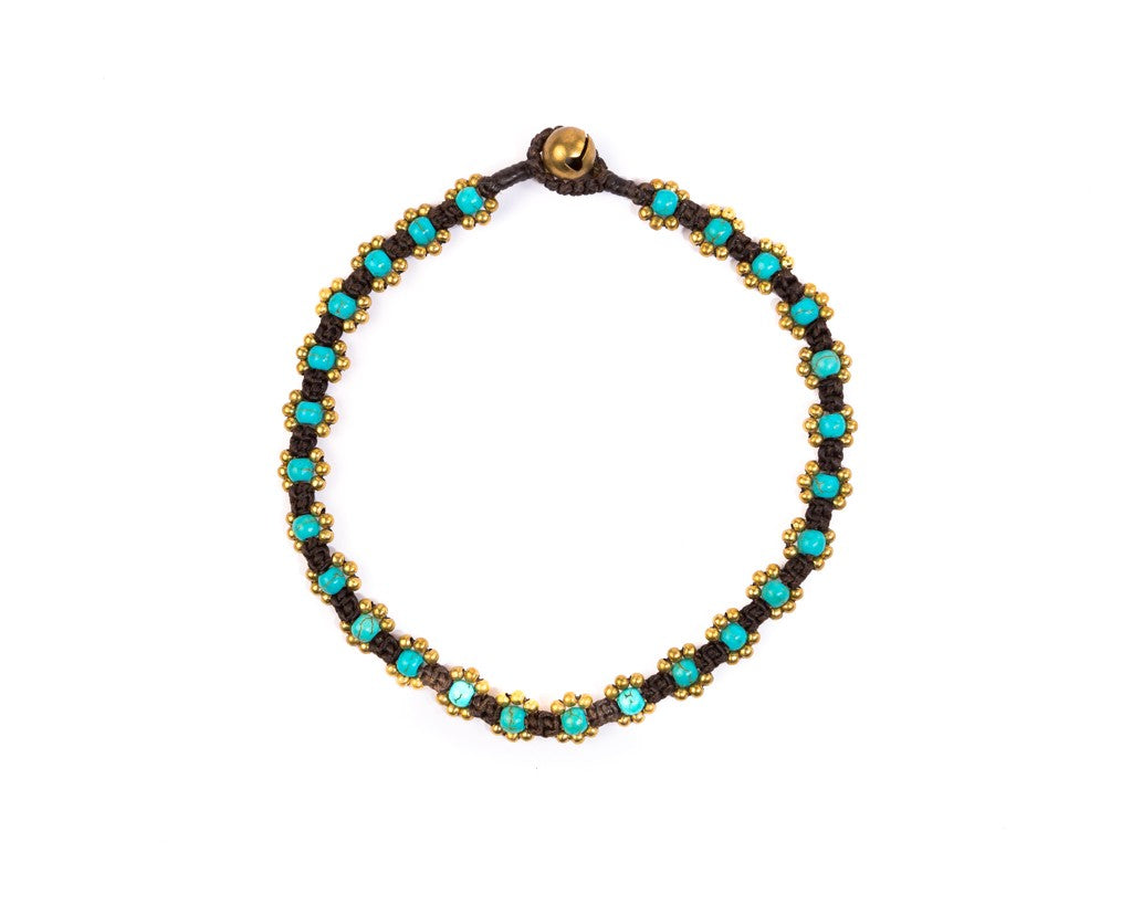 Anklet  -  Braided Brass & Turquoise Anklet
