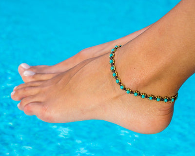 Anklet  -  Braided Brass & Turquoise Anklet - boom-ibiza