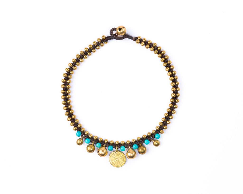 Anklet  -  Brass Bells & Beads Turquoise Anklet