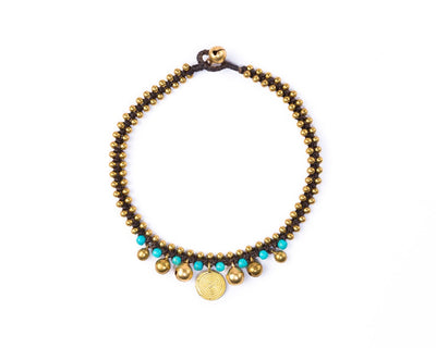 Anklet  -  Brass Bells & Beads Turquoise Anklet - boom-ibiza