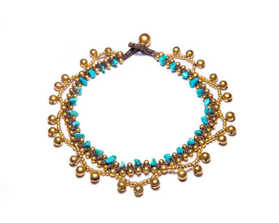 Anklet  -  Brass Bells & Turquoise Chips Anklet - boom-ibiza