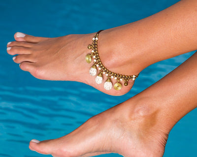 Anklet  -  Braided Brass Bells & White Agate Anklet - boom-ibiza